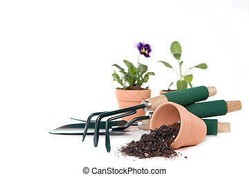 zaopatruje, kopia, ogrodnictwo, przestrzeń