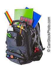 zaopatruje, plecak, szkoła
