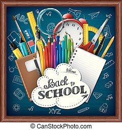 zaopatruje, szkoła, chalkboard, tło