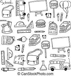 zaopatruje, szkoła, element, doodles