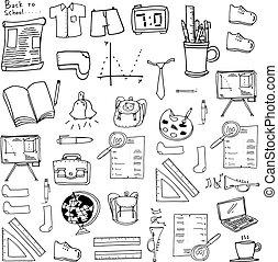 zaopatruje, szkoła, ilustracja, doodles