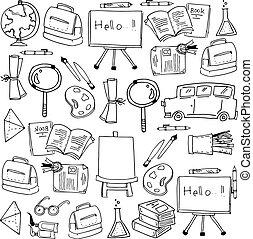 zaopatruje, szkoła instrumenty, doodles