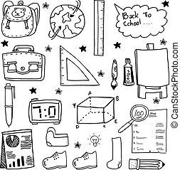 zaopatruje, szkoła, obiekt, doodles