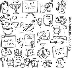 zaopatruje, szkoła, projektować, doodles