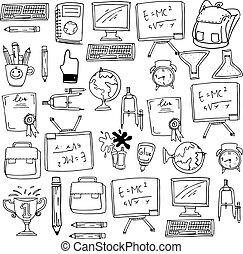 zaopatruje, szkoła, wykształcenie, doodles