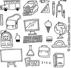 zaopatruje, zaciągnąć, ręka, szkoła, doodles