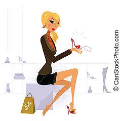 zaopatrywać, blond włos, kupno, kobieta, czerwony, fason,...