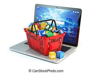 zaopatrywać, concept., software, kosz, apps, komputer, odizolowany, zakupy, zastosowanie, biały, laptop, ikony, tło.