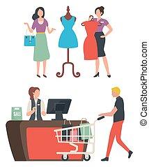 zaopatrywać, kupno, wybierając, wektor, odzież, fason