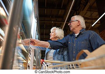 zaopatrywać, sklep spożywczy, para, senior