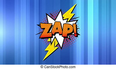 Zap text on speech bubble against blue background - ...