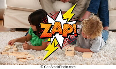 Zap text on speech bubble against kids playing jenga game at...