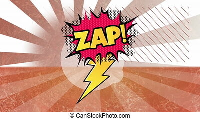Zap text on speech bubble against lines spinning in ...