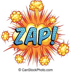 Word 'zap' with cloud explosion background