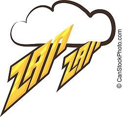 Zap-zap sound effect icon, cartoon style