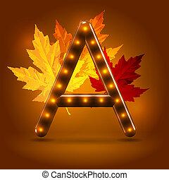 zapalany, abc, do góry, jesień, retro, połyskujący