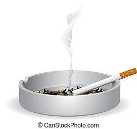 zapalany, papieros, popielniczka
