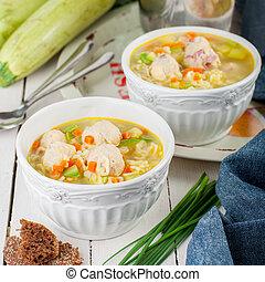 zapallitos, verano, albóndigas, pastas, sopa