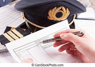 zapas, drapnąć plan, airplane pilotują