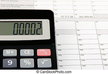 zapas, kształt, opodatkować, urzędnik, calculator., pojęcie