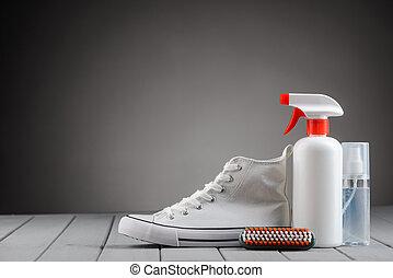 zapatilla, gris, calzado, plano de fondo, lona, suministros...