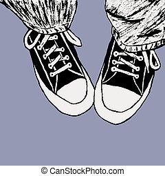 zapatilla, silueta, ilustración