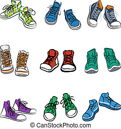 zapatillas, vector, conjunto