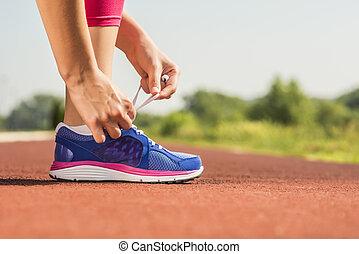 zapato, atar, deportes