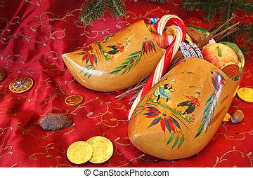 zapatos de madera, para, nicholas de st, día