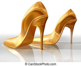 zapatos de taco alto, oro
