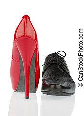 zapatos de taco alto, y, zapato de los hombres