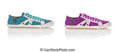 zapatos del deporte, aislado, en, el, blanco