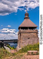 Zaporizhzhya Sich - the, temple, a, chapel, river, sky,...