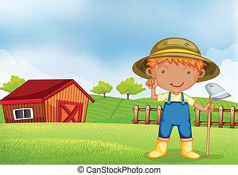 zappa, presa a terra, contadino