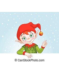 zapraszać, &, elf, miejsce, kartka na boże narodzenie