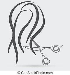 zaprojektujcie elementy, dla, fryzjer magazyn, ., kobiety, fryzura