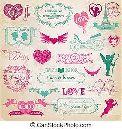 zaprojektujcie elementy, -, dzień, valentine