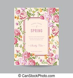 zaproszenie, ślub, niemowlę, karta, -, kwiatowy, przelotny deszcz, wektor, ułożyć, rocznik wina