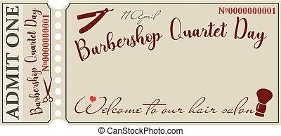 zaproszenie, barbershop, dzień, kwartet