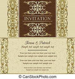 zaproszenie, brązowy, barok, ślub