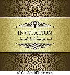 zaproszenie, brązowy, barok, złoty