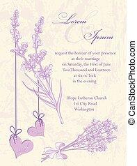 zaproszenie, card., ślub, tło., lawenda