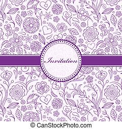 zaproszenie, karta, kwiatowy