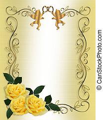 zaproszenie, róże, ślub, brzeg, żółty