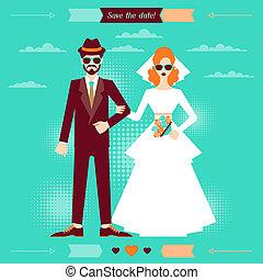 zaproszenie, retro, szablon, ślub, style., karta