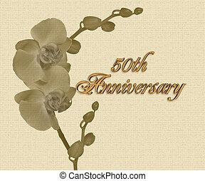 zaproszenie, rocznica, 50th, orchidee