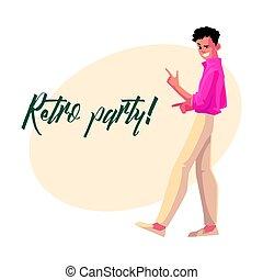 zaproszenie, styl, taniec, dyskoteka, 1980s, retro, partia, człowiek, odzież