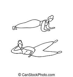 zaręczony, plank., concept., pilates., graficzny, wektor, training., doodle, trening, dziewczyna kobiety