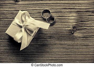 zaręczynowe kolisko, z, dar boks, -, drewno, tło