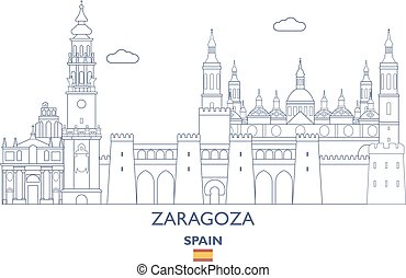 Zaragoza City Skyline, Spain - Zaragoza Linear City Skyline,...